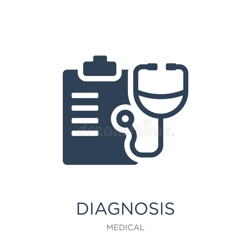Diagnosis icon in trendy design style. diagnosis icon isolated on white background. diagnosis vector icon simple and modern flat. Symbol for web site, mobile stock illustration