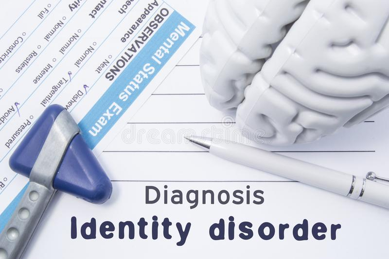 Diagnosis Identity Disorder. Medical psychiatrist opinion with written psychiatric diagnosis of Identity Disorder, questionnaire m royalty free illustration