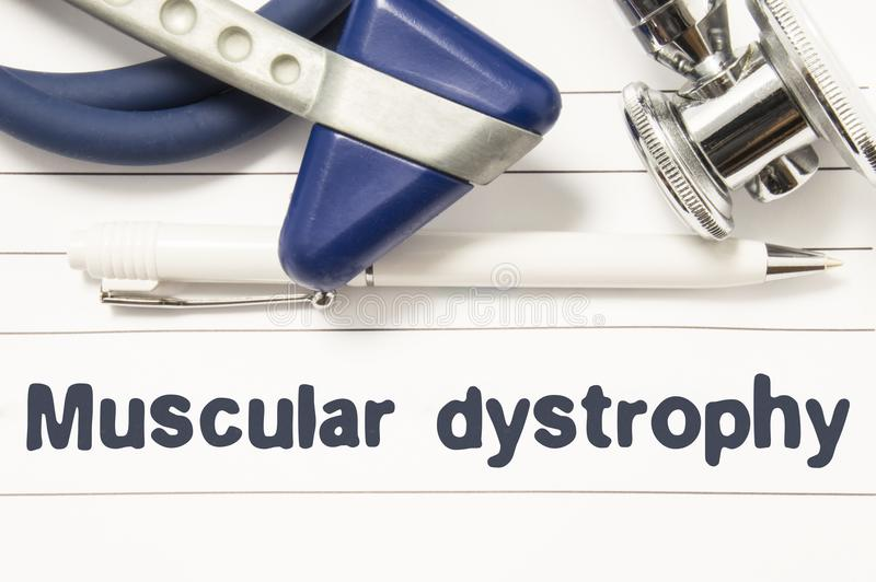 Diagnosis of Muscular Dystrophy closeup. Medical book guide for doctor neurologist with heading text of neurological disease Muscu stock photos