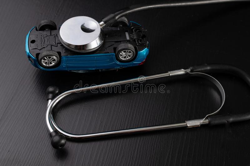 Diagnosis of a passenger car. Repair and troubleshooting in car workshops royalty free stock image