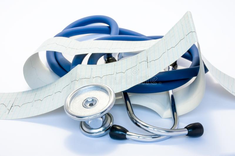 Diagnosis, treatment and prevention of diseases of heart and cardiovascular system concept photo. Blue stethoscope is surrounded b royalty free stock photos