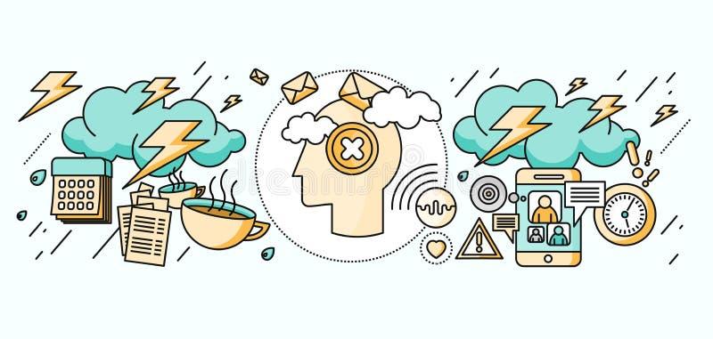 Diagnostic de Brain Psychology Flat Design illustration de vecteur