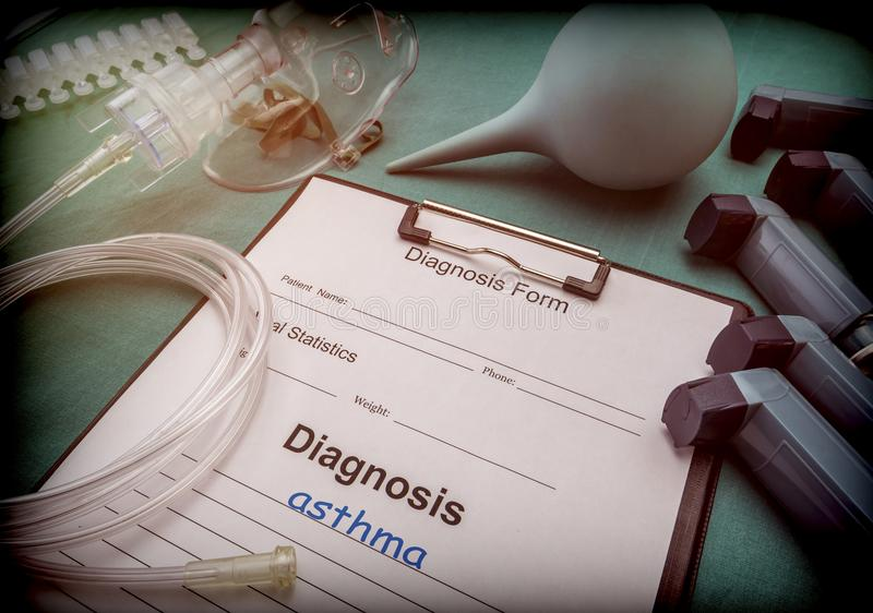 Diagnostic form, Asthma, Oxygen mask and inhalers in a hospital stock photos