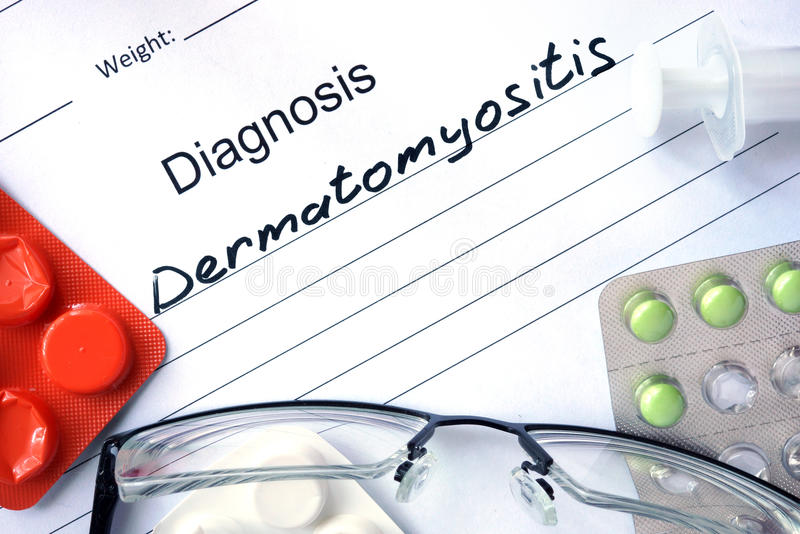 Diagnostic form with diagnosis Dermatomyositis. Diagnostic form with diagnosis Dermatomyositis and pills stock image