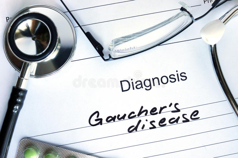 Diagnostic form with diagnosis Gauchers disease. Diagnostic form with diagnosis Gauchers disease and pills stock images