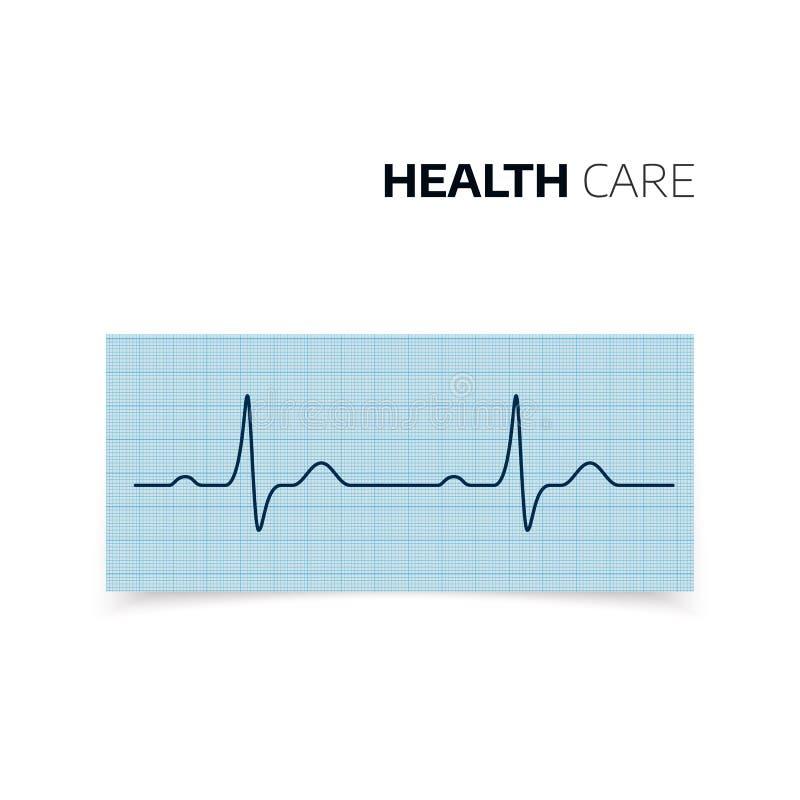 Diagnostic médical de battement de coeur et de fréquence cardiaque Cardiogramme de coeur de santé Courbe de Heartbaet sur le papi illustration de vecteur