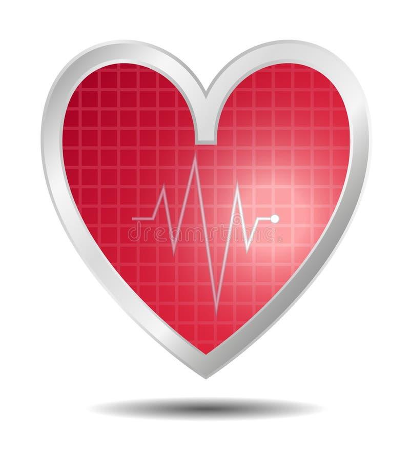 Diagnostics heart in red design stock illustration