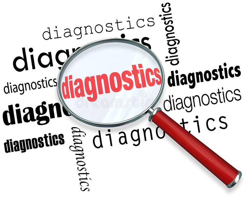 Diagnostics Word Magnifying Glass Finding Solution Problem Data royalty free illustration