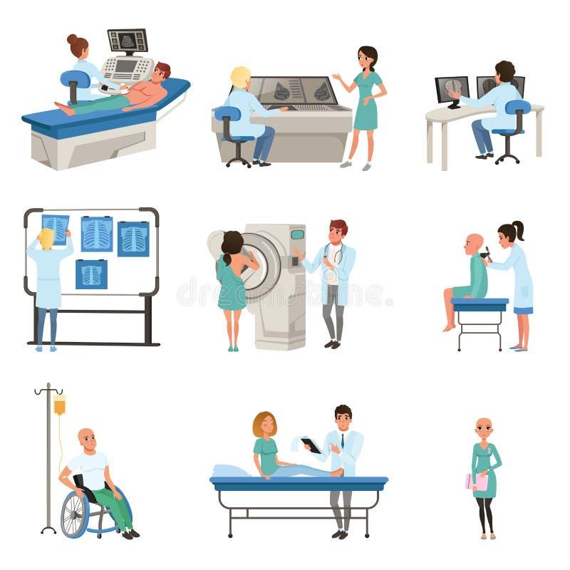 Diagnostik och behandling av canceruppsättningen, doktorer, patienter och utrustning för illustrationer för oncologymedicinvektor stock illustrationer