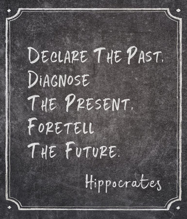 Diagnostique la cita de Hipócrates imagen de archivo