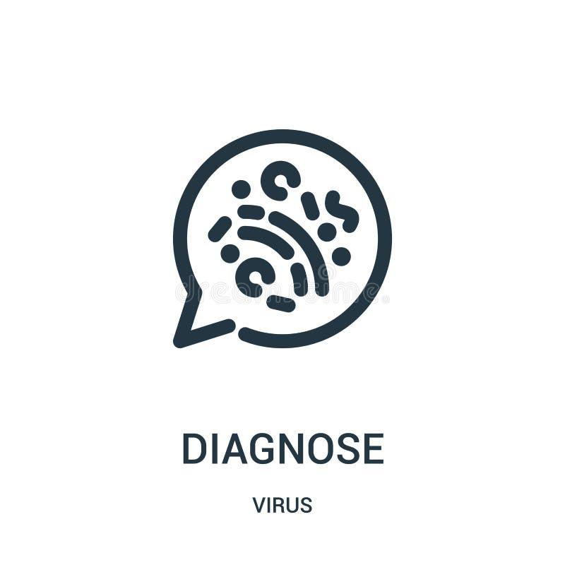 diagnostique o vetor do ícone da coleção do vírus A linha fina diagnostica a ilustração do vetor do ícone do esboço ilustração royalty free