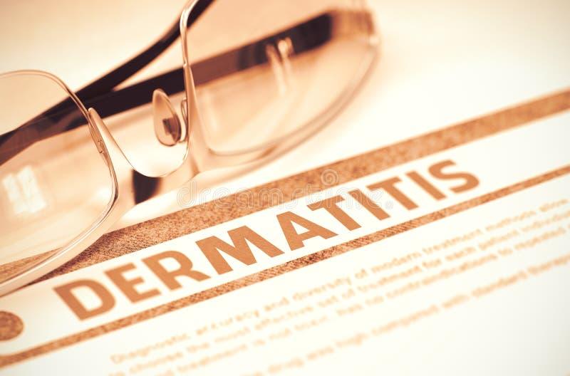 Diagnoza - Dermatitis pojęcie kłama medycyny pieniądze ustalonego stetoskop ilustracja 3 d zdjęcie stock