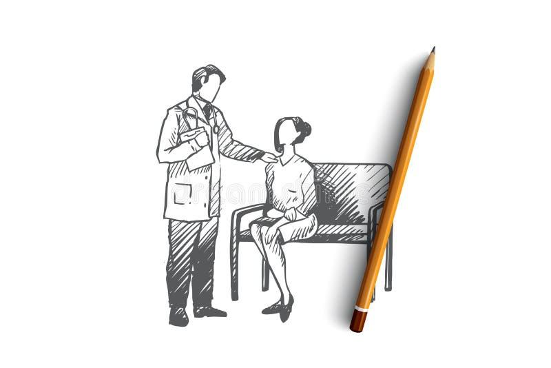 Diagnoza, lekarka, pacjent, onkologia, kliniki pojęcie Ręka rysujący odosobniony wektor ilustracja wektor