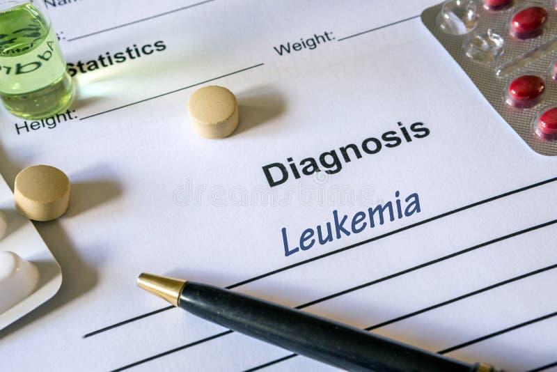 Diagnozy białaczka pisać w diagnostycznej formie zdjęcie stock