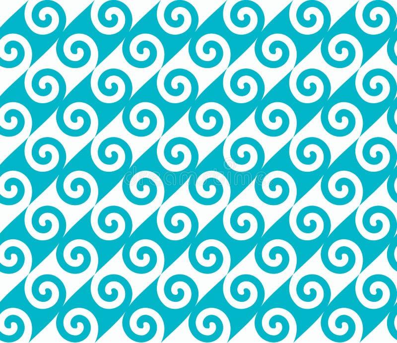 Diagonaal blauw spiraalvormig golfpatroon Naadloos vectorpatroon royalty-vrije illustratie