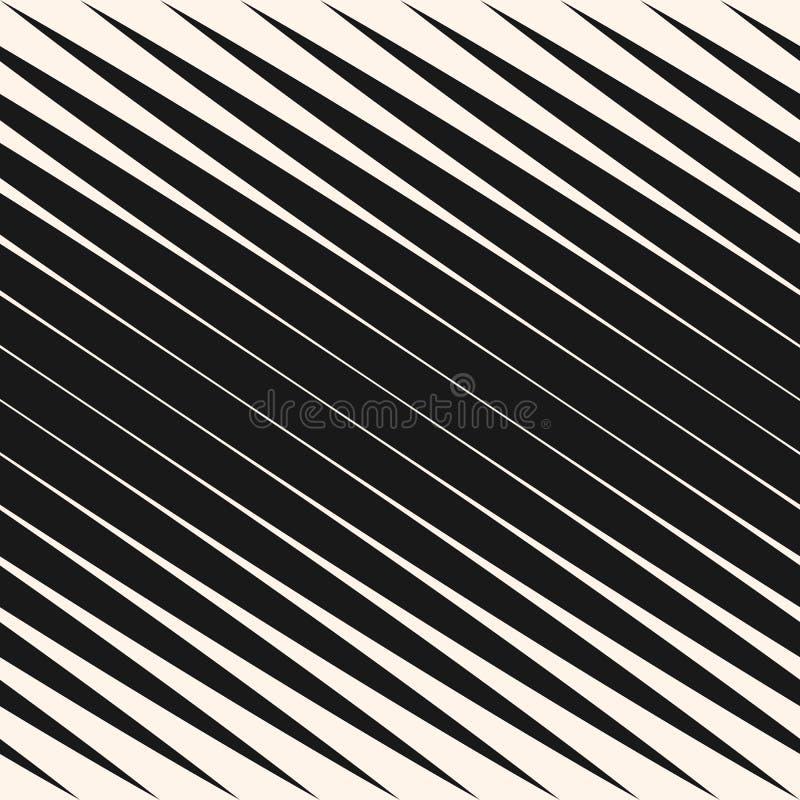 Diagonaal halftone strepen naadloos patroon, vector gehelde parallelle lijnen Zwart-wit ontwerpelement royalty-vrije illustratie