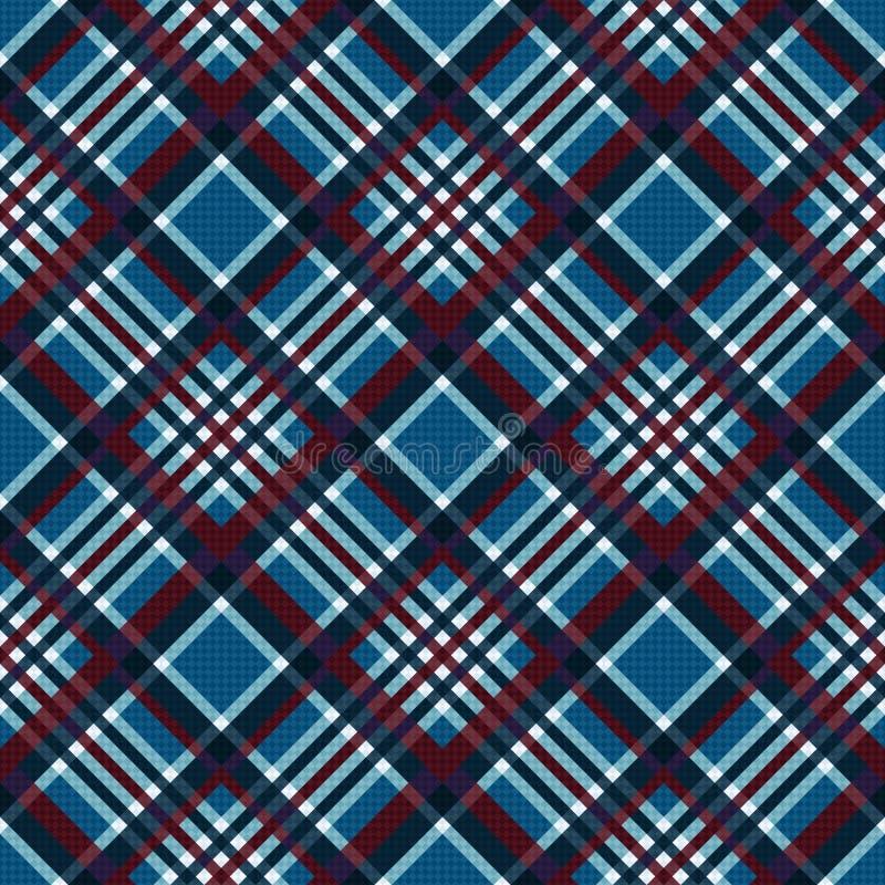 Diagonaal naadloos geruit patroon in blauw en rood vector illustratie
