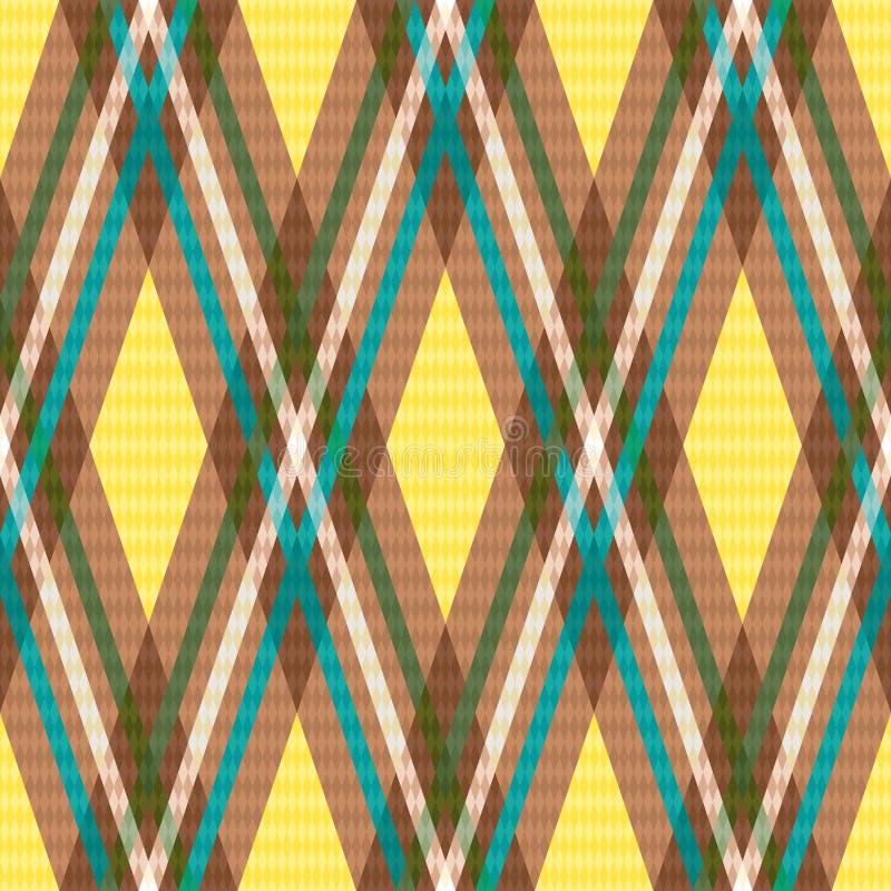 Diagonaal naadloos geruit patroon in geel en bruin royalty-vrije illustratie