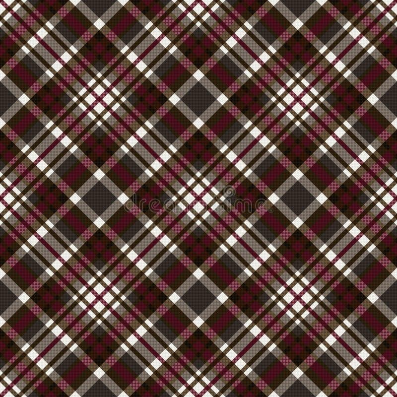 Diagonaal naadloos geruit patroon in grijs, bruin en rood vector illustratie