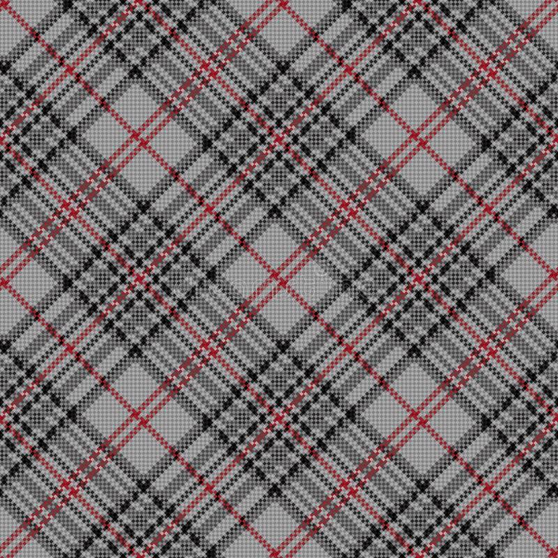 Diagonaal naadloos geruit patroon in grijs en rood vector illustratie
