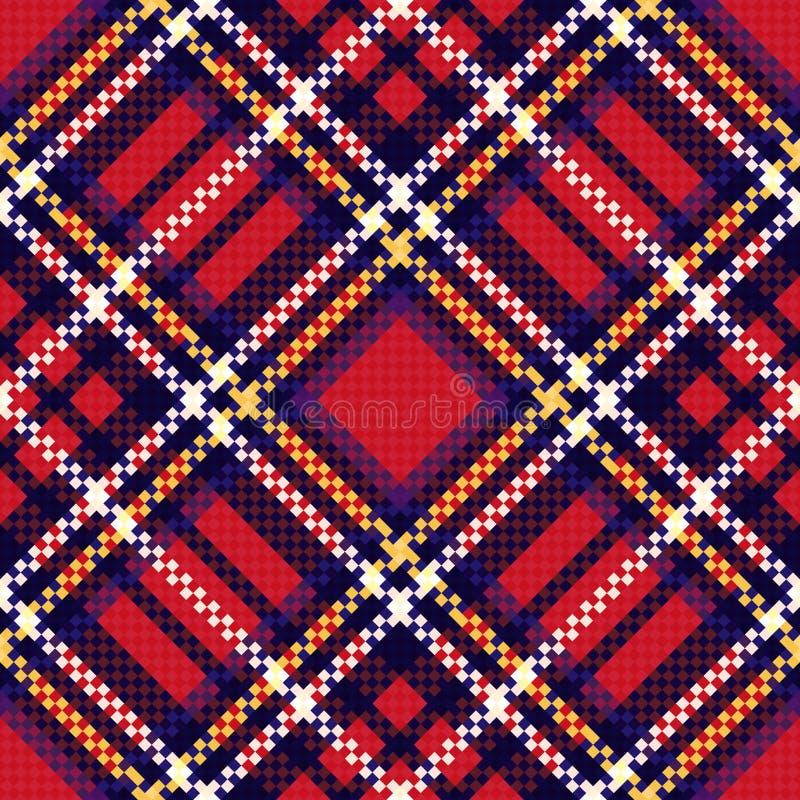 Diagonaal naadloos geruit patroon in rood en blauw royalty-vrije illustratie