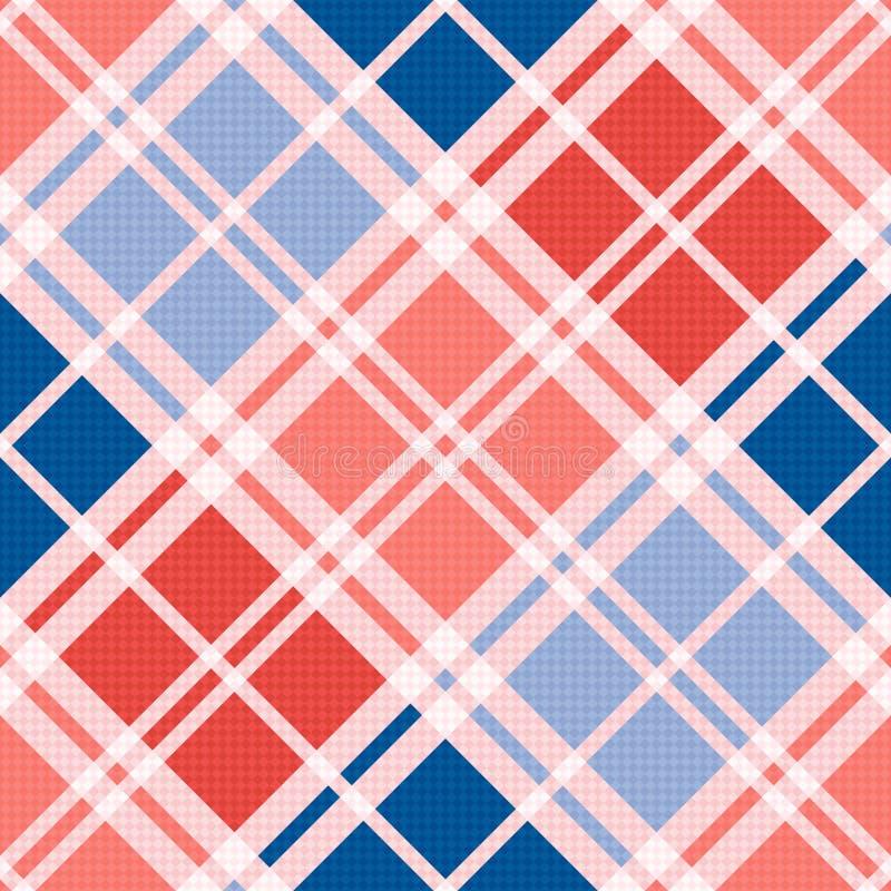 Diagonaal naadloos patroon in rood blauwe in tinten stock illustratie
