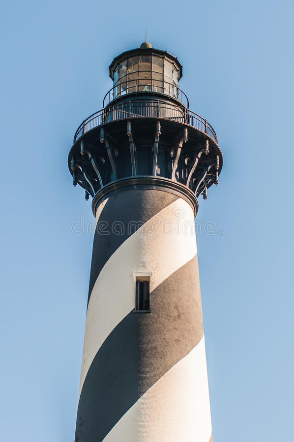 Diagonal black and white stripes mark the Cape Hatteras lighthouse at its new location near the town of Buxton on the Outer Banks royalty free stock image