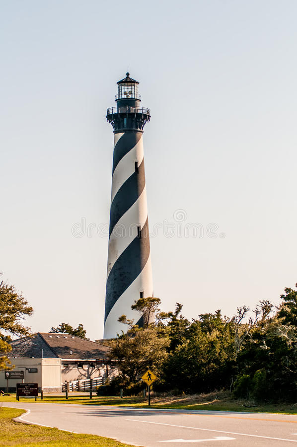 Diagonal black and white stripes mark the Cape Hatteras lighthouse at its new location near the town of Buxton on the Outer Banks royalty free stock photography