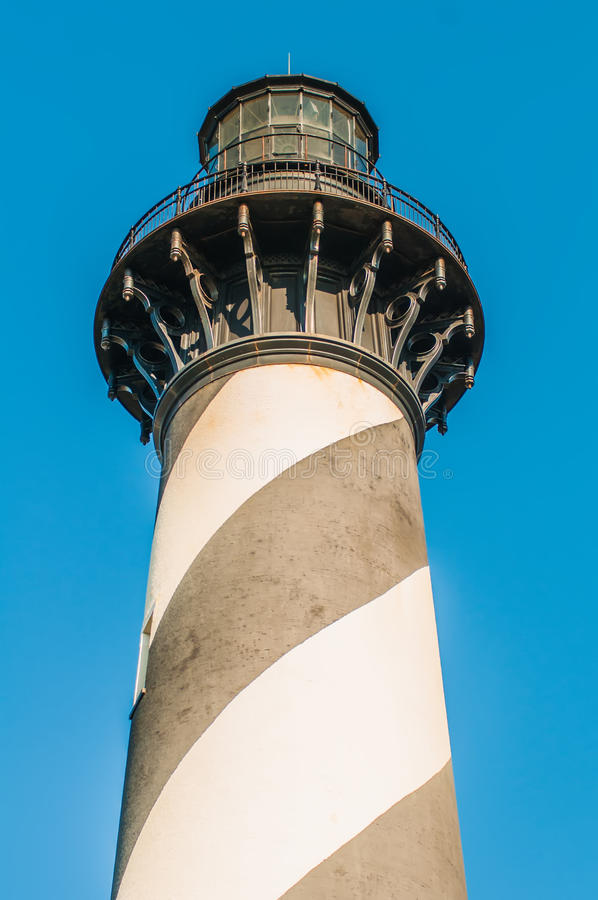 Diagonal black and white stripes mark the Cape Hatteras lighthouse at its new location near the town of Buxton on the Outer Banks stock photos
