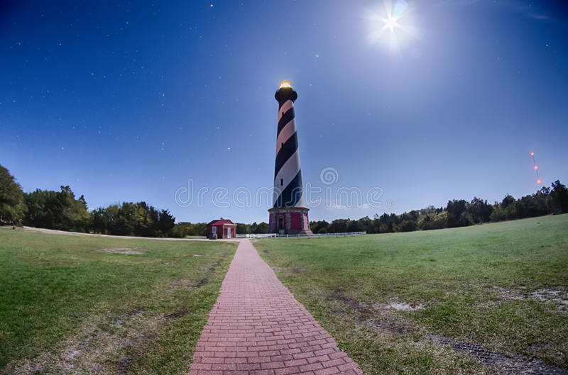 Diagonal black and white stripes mark the Cape Hatteras lighthouse at its new location near the town of Buxton on the Outer Banks royalty free stock images