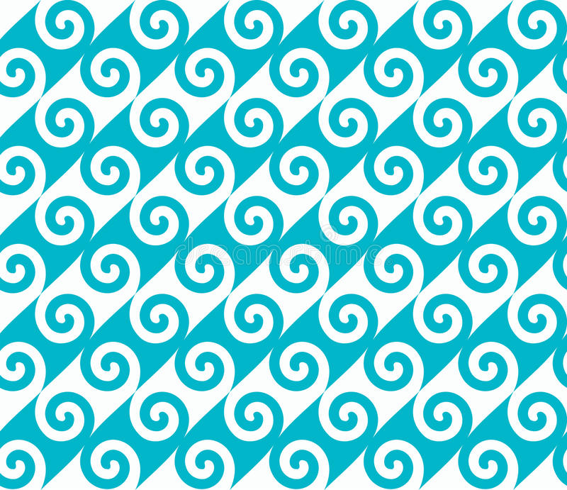 Diagonal blue spiral wave pattern. Seamless vector pattern. royalty free illustration