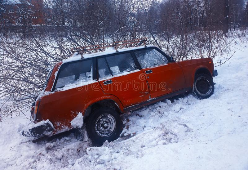 Diagonal car crash in winter snow offroad background stock photo