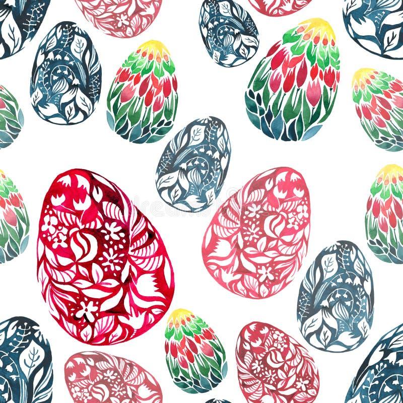 A diagonal festal erval floral brilhante gráfica abstrata sofisticada bonita dos ovos da páscoa arranjou o grupo ilustração do vetor