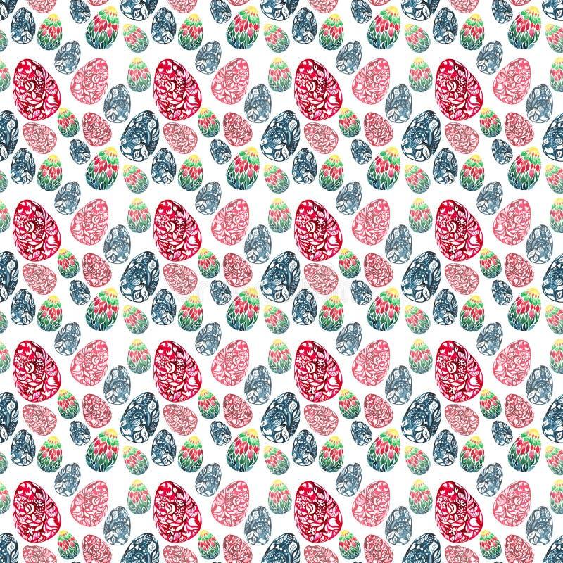 A diagonal festal erval floral brilhante gráfica abstrata sofisticada macia bonita dos ovos da páscoa arranjou o grupo ilustração do vetor