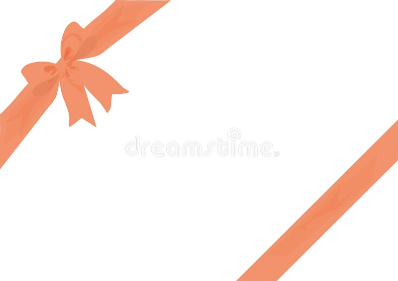 Diagonal Gift Wrap & Bow Peach. Peach Ribbon bow with matching diagonal ribbon wrap to overlay gifts, parcels or packages, or use as a background, border or royalty free illustration