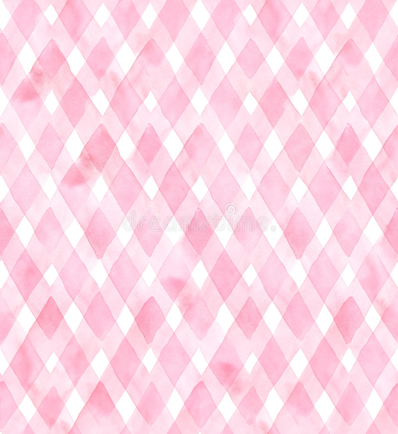 Diagonal gingham of pink colors on white background. Watercolor seamless pattern for fabric royalty free illustration