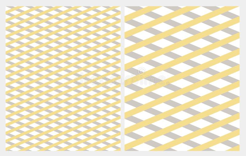 Diagonal Grid with Gray and Yellow Stripes Isolated on a White Backgroud. Simple Abstract Geometric Seamless Vector Pattern. Marine Style Repeatable Design vector illustration
