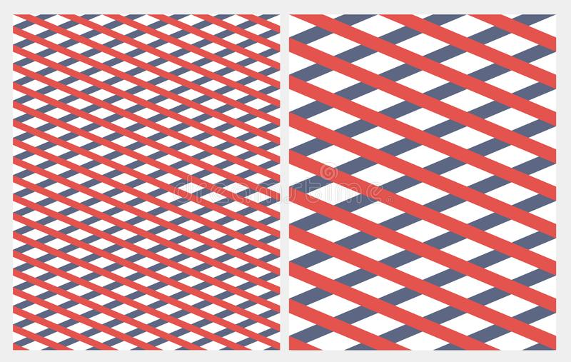 Diagonal Grid with Red and Blue Stripes Isolated on a White Backgroud. Simple Abstract Geometric Seamless Vector Pattern. Marine Style Repeatable Design stock illustration