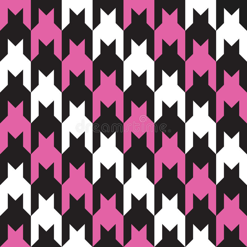 Diagonal Hounds Tooth in Pink, Black and White stock illustration