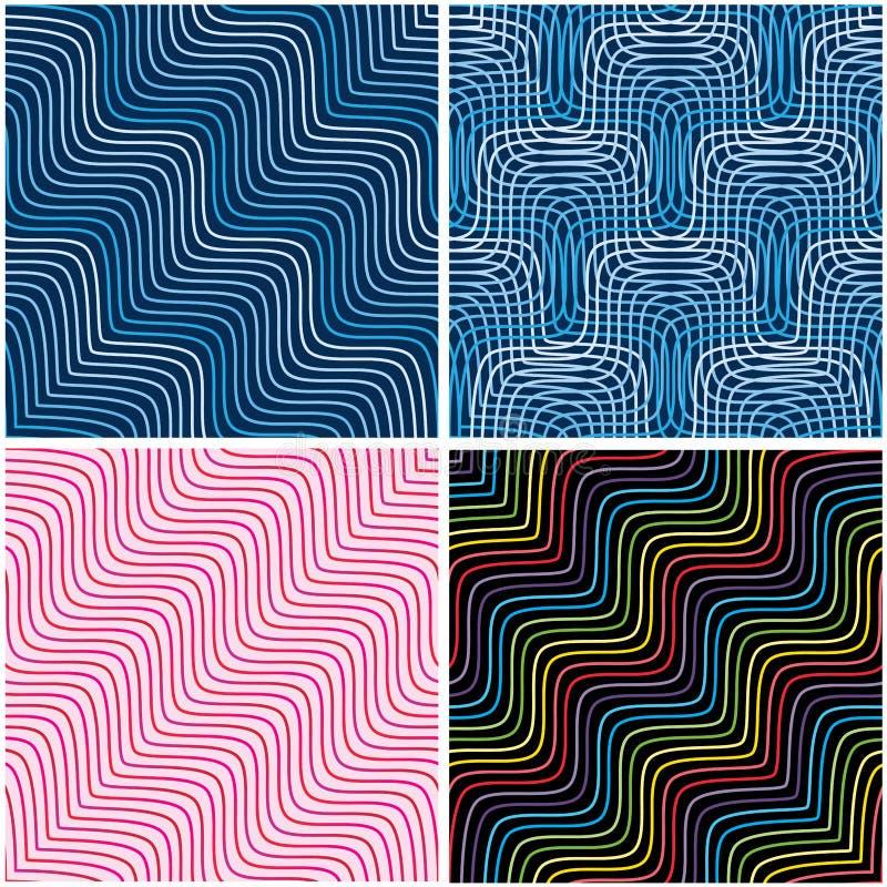Diagonal linje sömlös modell för våg för stiluppsättning vektor illustrationer