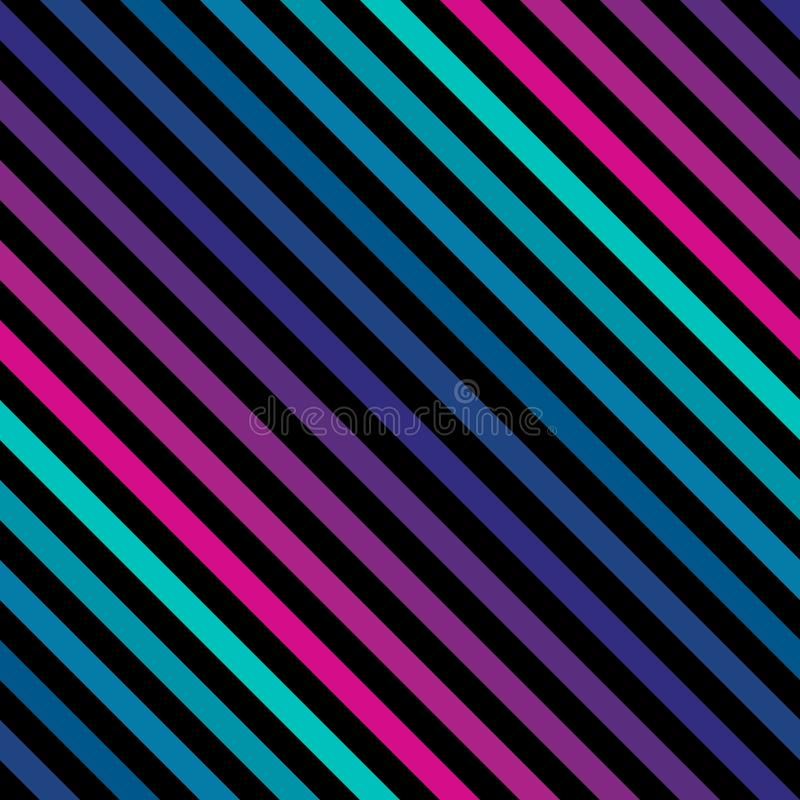A diagonal listra o teste padrão sem emenda nas cores brilhantes de néon Teste padrão retro ilustração do vetor