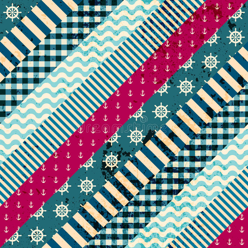 Diagonal patchwork pattern in nautical style stock illustration