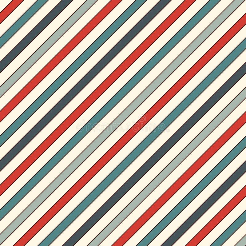 A diagonal retro das cores listra o fundo abstrato Linha de inclinação fina papel de parede Teste padrão sem emenda com motivo cl ilustração do vetor