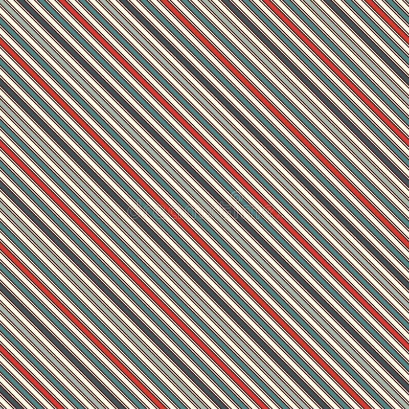 A diagonal retro das cores listra o fundo abstrato Linha de inclinação fina papel de parede Teste padrão sem emenda com motivo cl ilustração stock