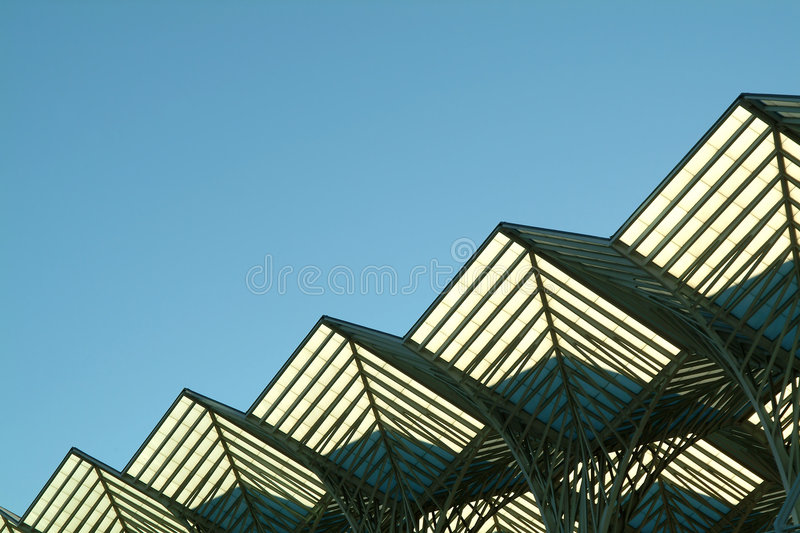 Diagonal Steel Roof Structure Royalty Free Stock Photo