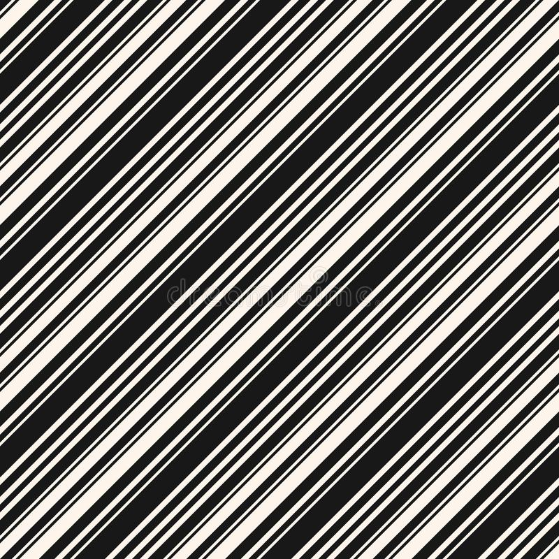 Diagonal stripes seamless pattern. Simple black and white vector lines texture vector illustration