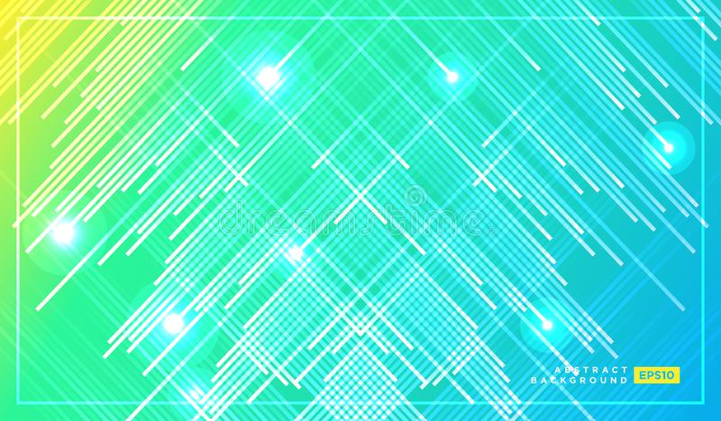 Diagonal stripes vector lines falling with shadow and glowing light illustration. Space and stars on dark green yellow background royalty free illustration