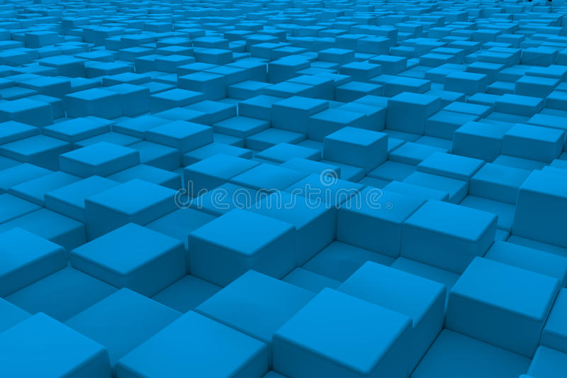 Diagonal surface made of light blue cubes stock illustration