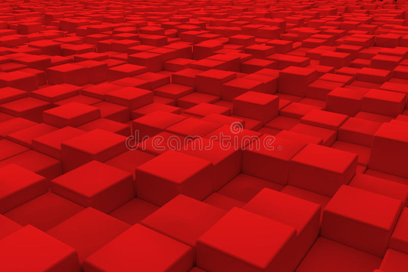 Diagonal surface made of red cubes royalty free illustration