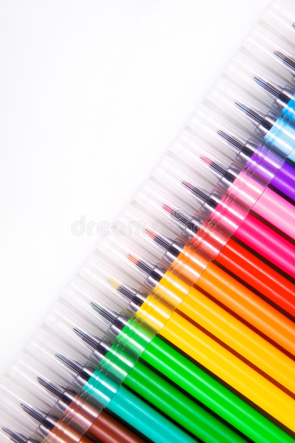 Diagonal View Of Multicolored Markers Royalty Free Stock Photo